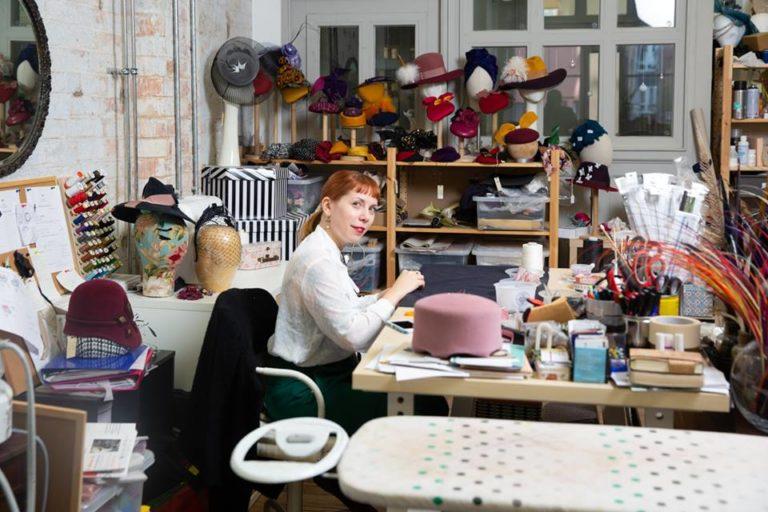 Milliner Giulia Mio in Studio 6 at Makers' Yard