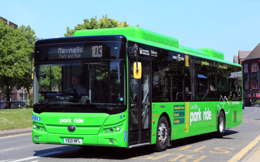 One of Leicester's electric park and ride buses