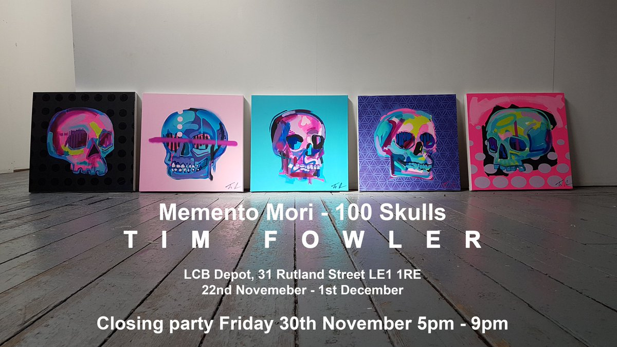 Tim Fowler closing party skull paintings